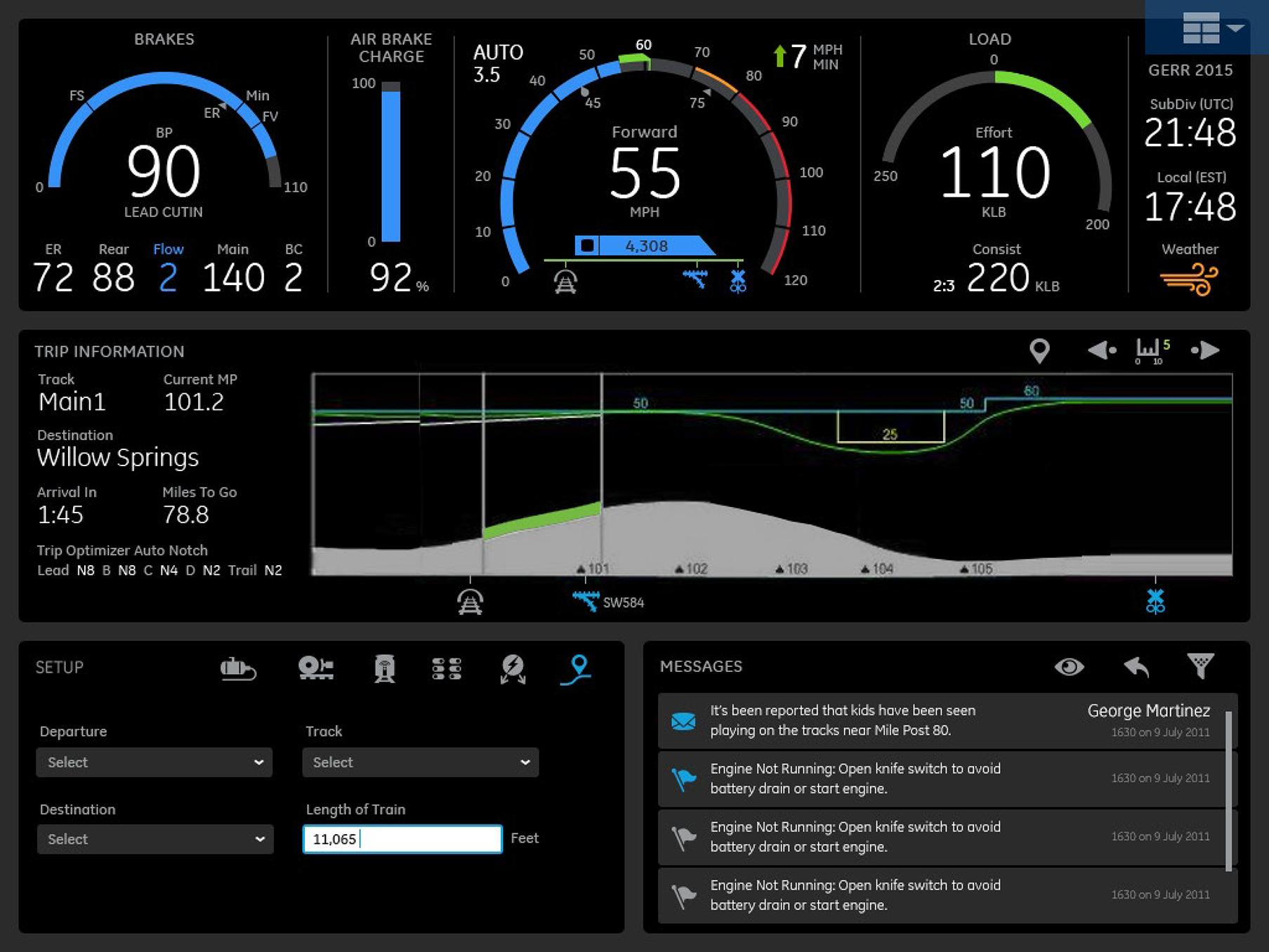 Locomotive HMI with Industrial IoT Interface